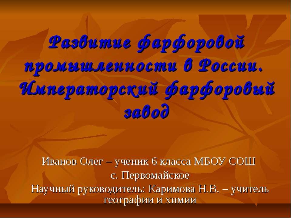 Развитие фарфоровой промышленности в России. Императорский фарфоровый завод И...