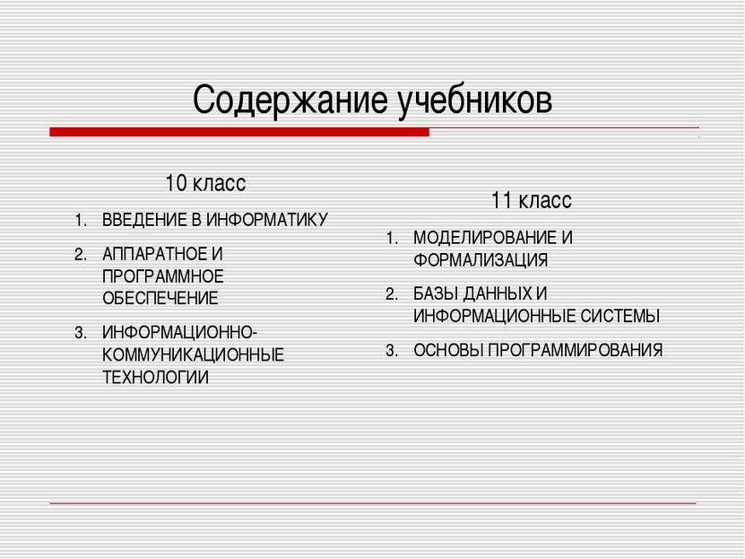 Содержание учебников 10 класс ВВЕДЕНИЕ В ИНФОРМАТИКУ АППАРАТНОЕ И ПРОГРАММНОЕ...