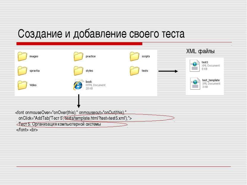 Создание и добавление своего теста Тест 5. Организация компьютерной системы X...