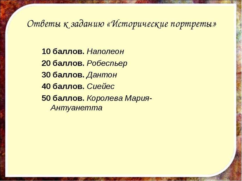 Ответы к заданию «Исторические портреты» 10 баллов. Наполеон 20 баллов. Робес...