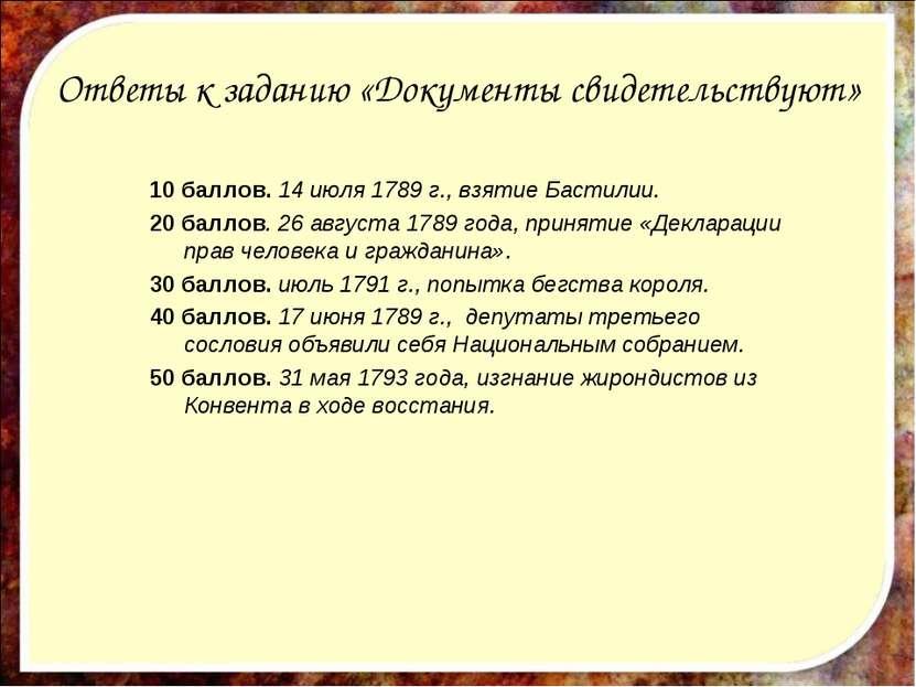 Ответы к заданию «Документы свидетельствуют» 10 баллов. 14 июля 1789 г., взят...
