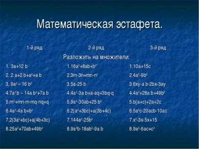 Математическая эстафета.