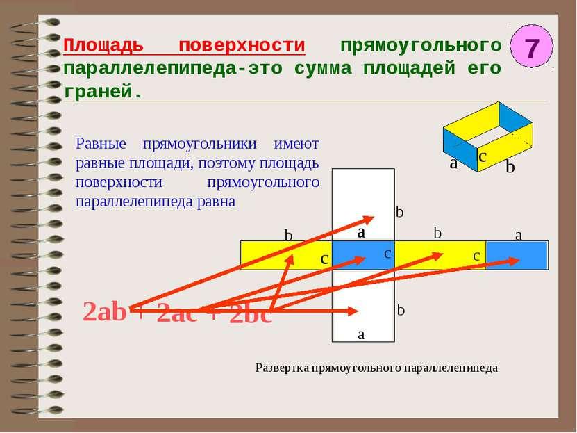 Площадь поверхности прямоугольного параллелепипеда-это сумма площадей его гра...