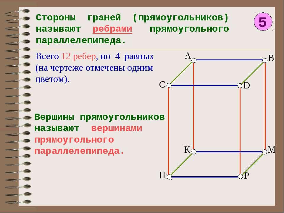 5 Стороны граней (прямоугольников) называют ребрами прямоугольного параллелеп...