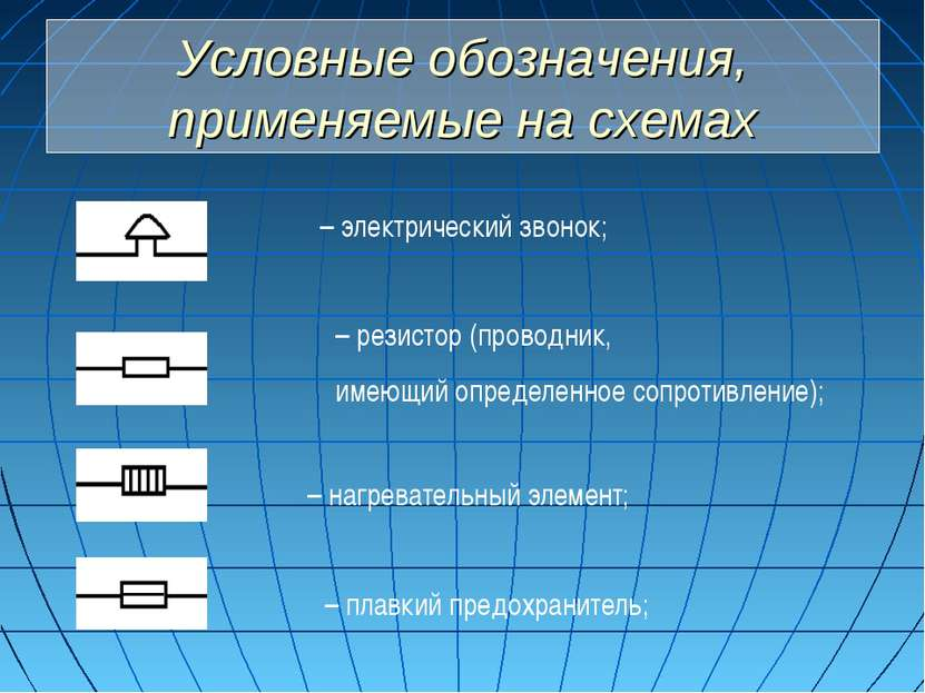 Условные обозначения, применяемые на схемах – электрический звонок; – резисто...