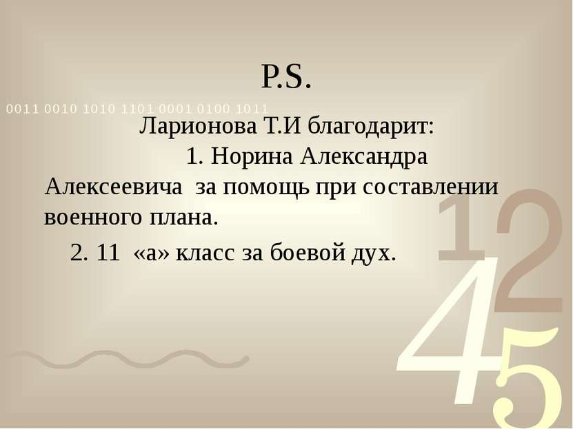 Р.S. Ларионова Т.И благодарит: 1. Норина Александра Алексеевича за помощь при...