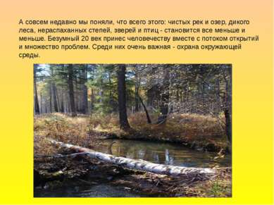 А совсем недавно мы поняли, что всего этого: чистых рек и озер, дикого леса, ...