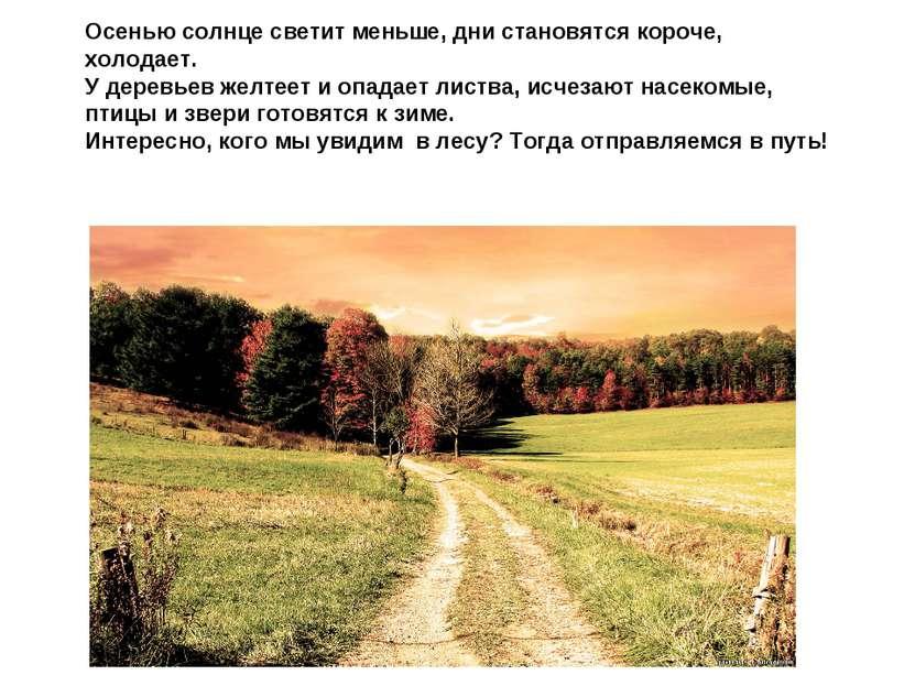 Осенью солнце светит меньше, дни становятся короче, холодает. У деревьев желт...