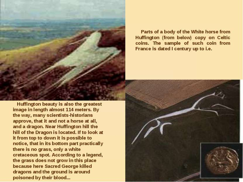 Parts of a body of the White horse from Huffington (from below) copy on Celti...