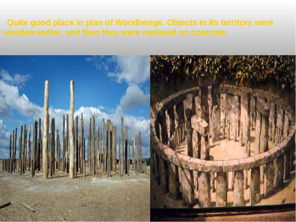 Quite good place in plan of Woodhenge. Objects in its territory were wooden e...