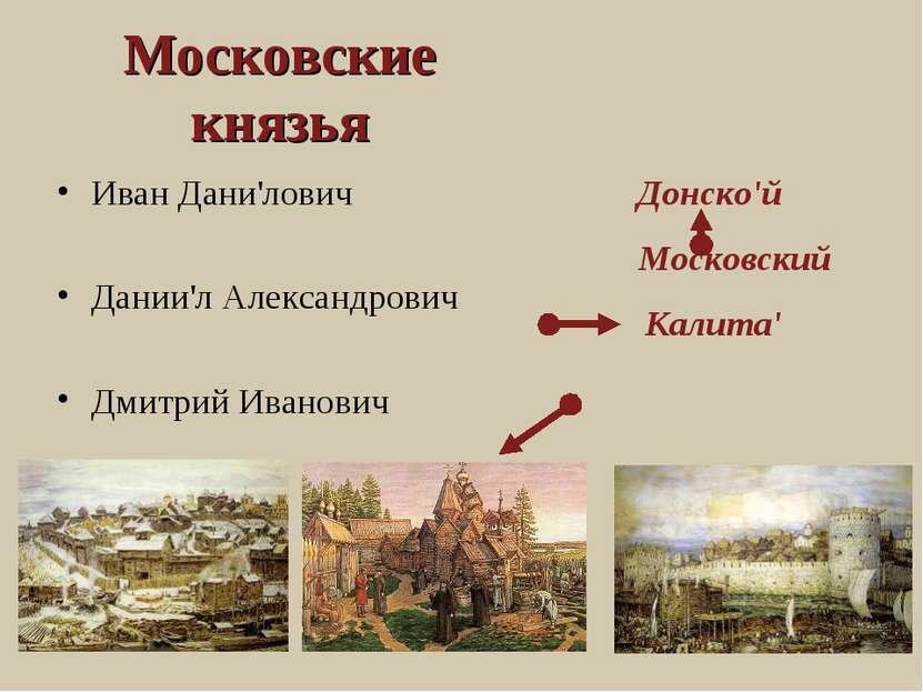 Московские князья Иван Дани'лович Дании'л Александрович Дмитрий Иванович Донс...