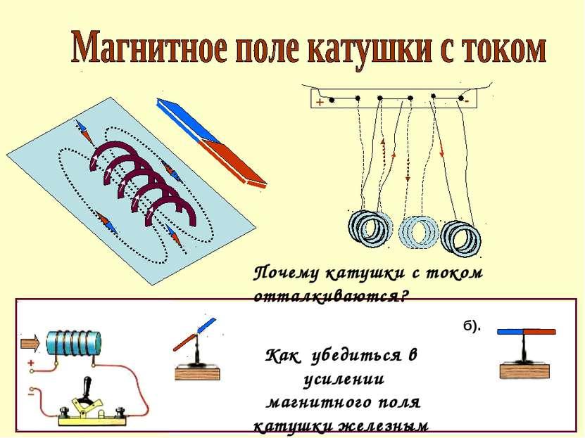 Как убедиться в усилении магнитного поля катушки железным сердечником? Почему...