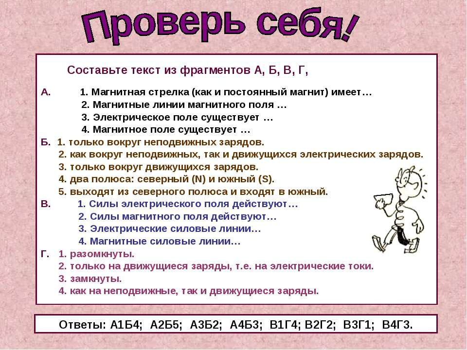 Составьте текст из фрагментов А, Б, В, Г, А. 1. Магнитная стрелка (как и пост...