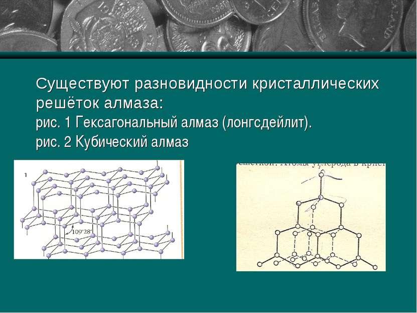 Существуют разновидности кристаллических решёток алмаза: рис. 1 Гексагональны...