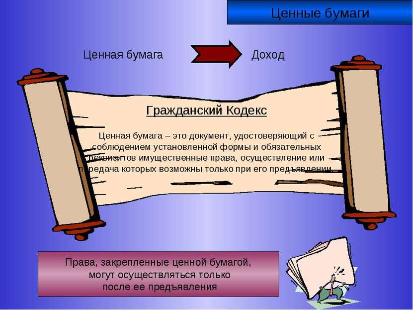 Ценные бумаги Гражданский Кодекс Ценная бумага – это документ, удостоверяющий...