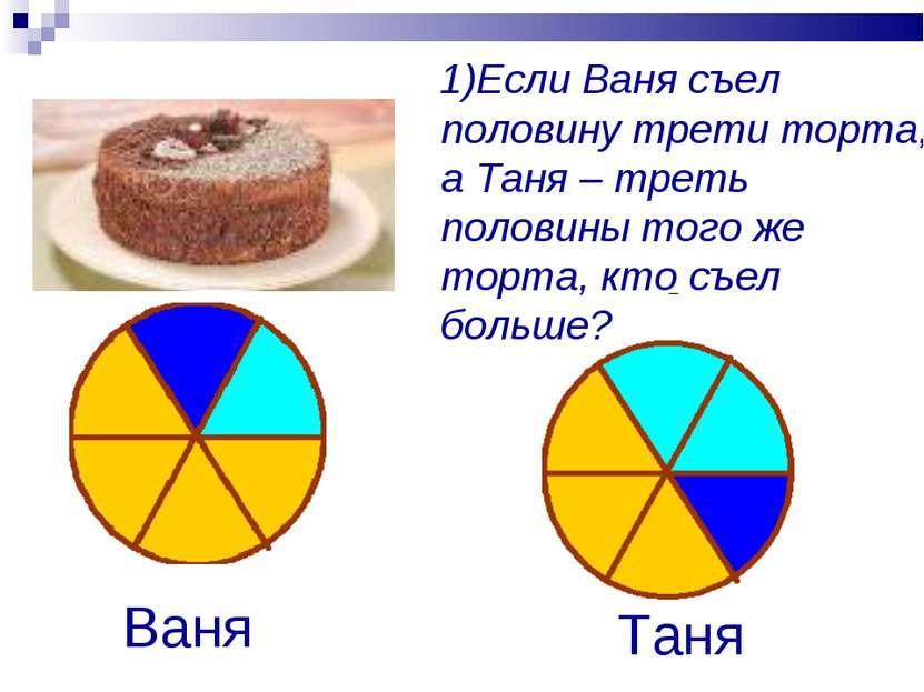 1)Если Ваня съел половину трети торта, а Таня – треть половины того же торта,...