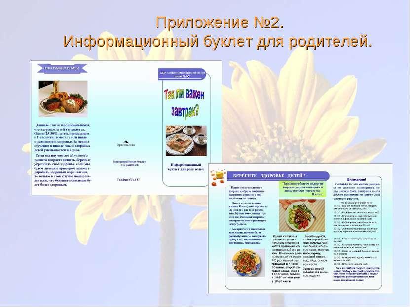 Приложение №2. Информационный буклет для родителей.