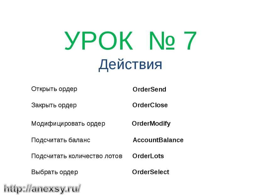 УРОК № 7 Действия Открыть ордер Закрыть ордер Модифицировать ордер Подсчита...