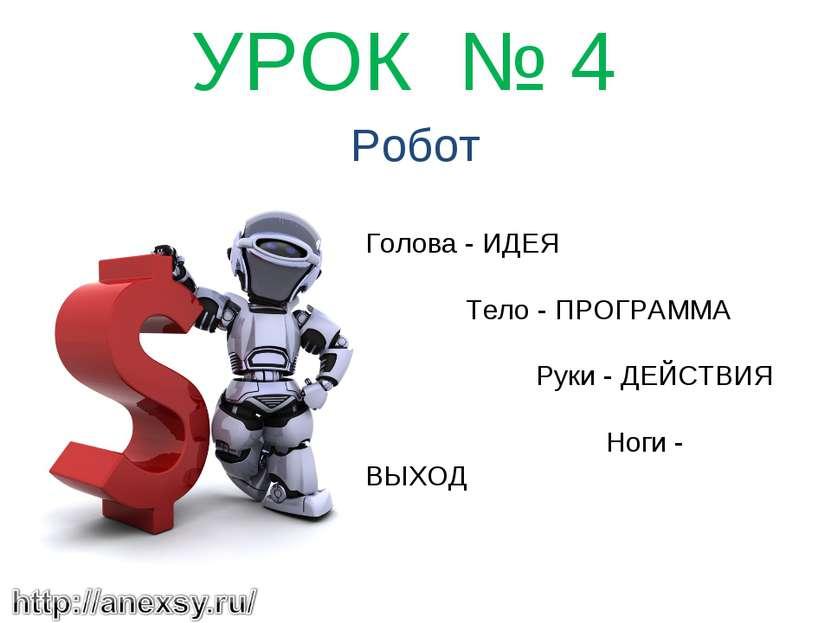 УРОК № 4 Робот Голова - ИДЕЯ Тело - ПРОГРАММА Руки - ДЕЙСТВИЯ Ноги - ВЫХОД