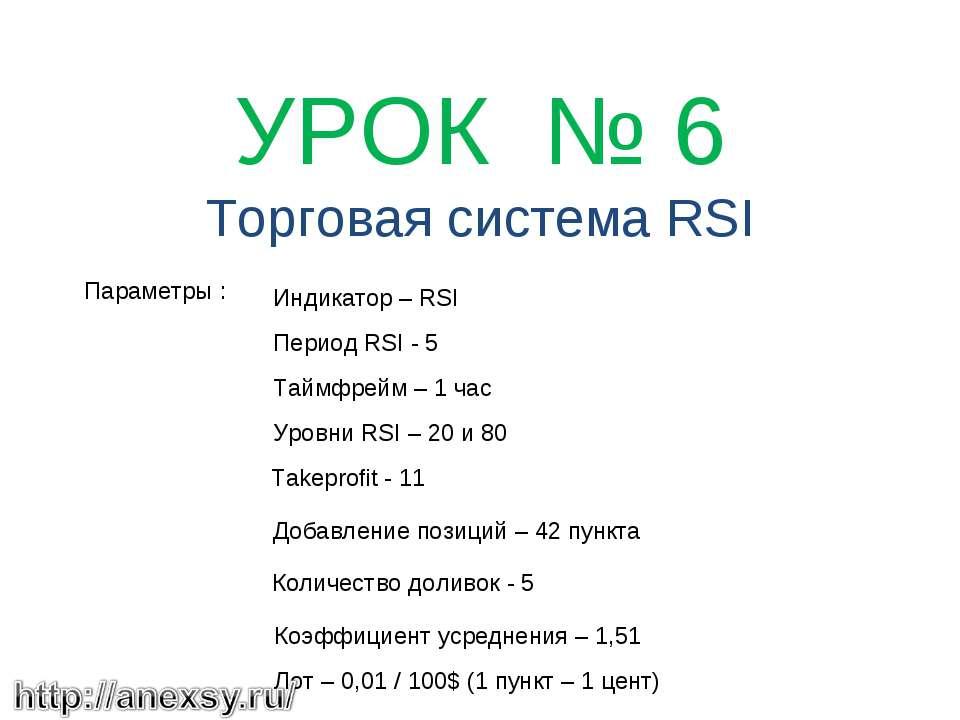 УРОК № 6 Торговая система RSI Параметры : Индикатор – RSI Период RSI - 5 Та...