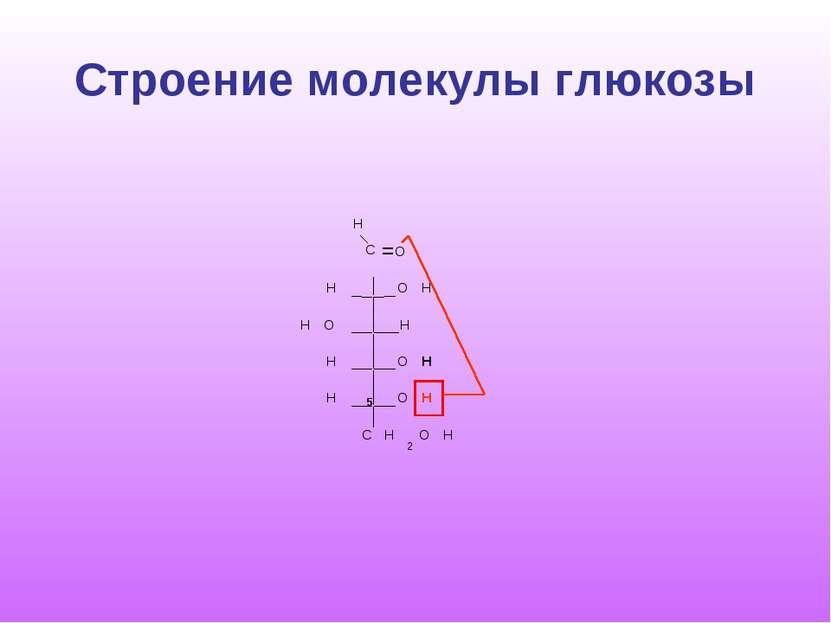 Строение молекулы глюкозы C H O O H H H H O O H H O H H C H 2 O H = 5
