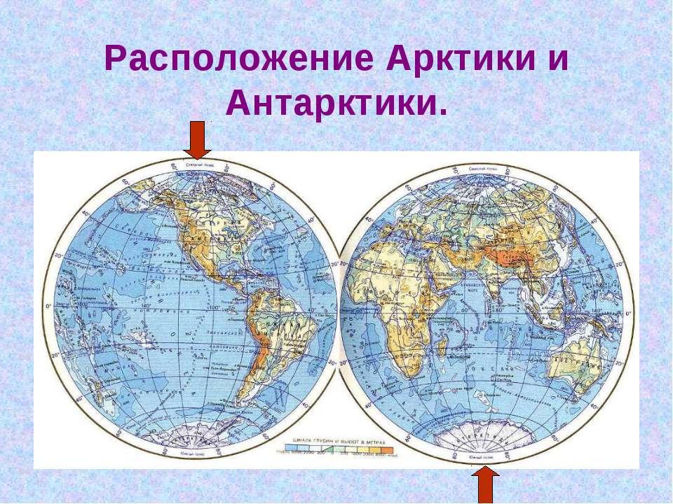 Расположение Арктики и Антарктики.