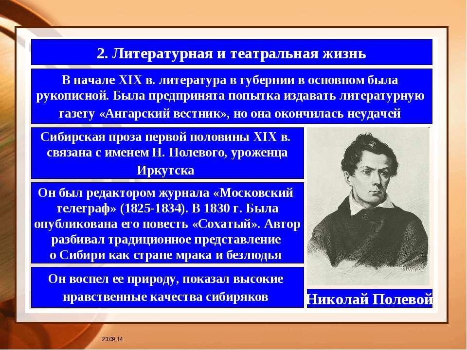 * 2. Литературная и театральная жизнь В начале XIX в. литература в губернии в...
