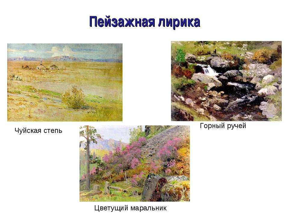 Пейзажная лирика Чуйская степь Горное озеро Цветущий маральник Горный ручей