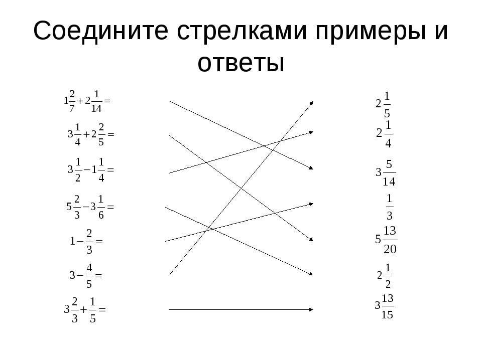 Соедините стрелками примеры и ответы