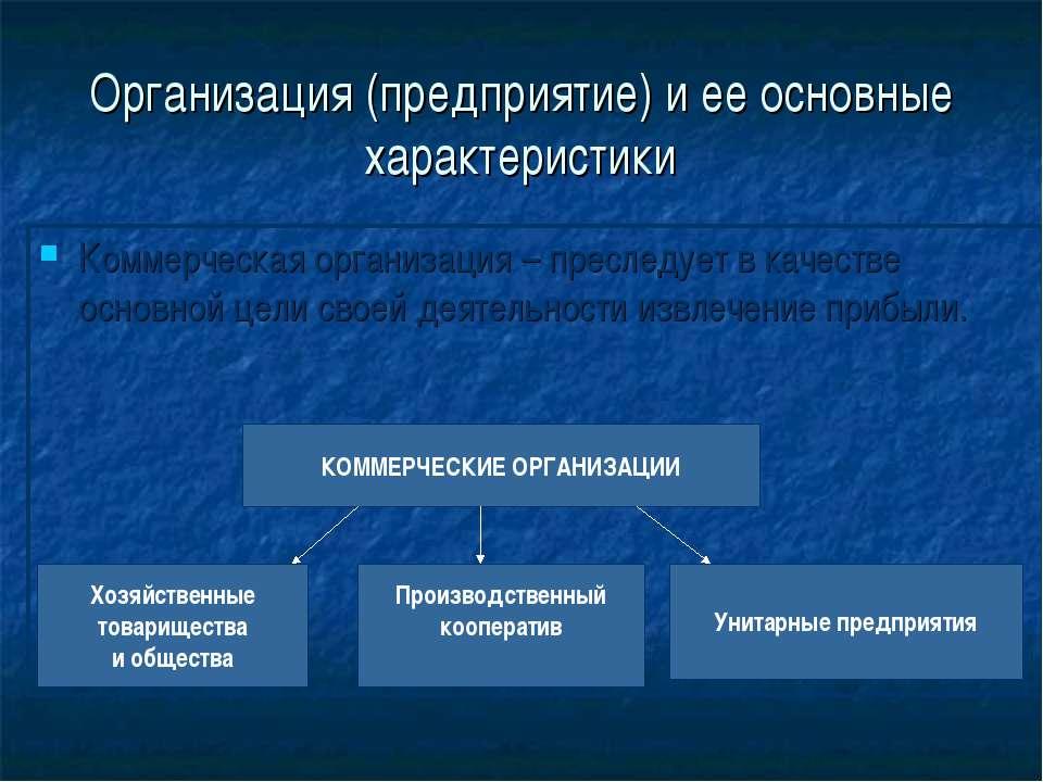 Организация (предприятие) и ее основные характеристики Коммерческая организац...