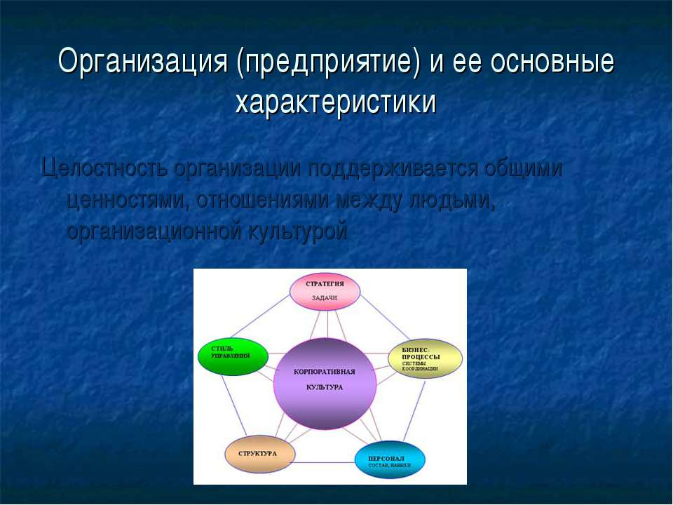 Организация (предприятие) и ее основные характеристики Целостность организаци...