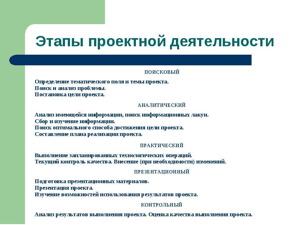 Этапы проектной деятельности ПОИСКОВЫЙ Определение тематического поля и темы ...