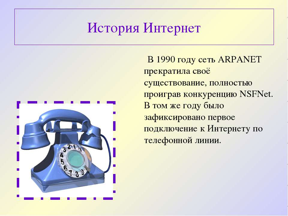 В 1990 году сеть ARPANET прекратила своё существование, полностью проиграв ко...
