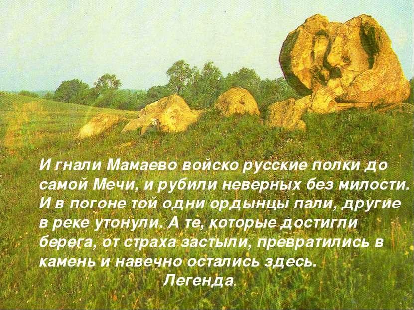 И гнали Мамаево войско русские полки до самой Мечи, и рубили неверных без мил...