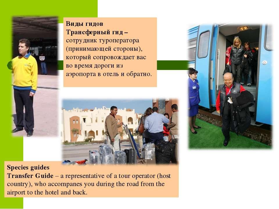 Виды гидов Трансферный гид – сотрудник туроператора (принимающей стороны), ко...