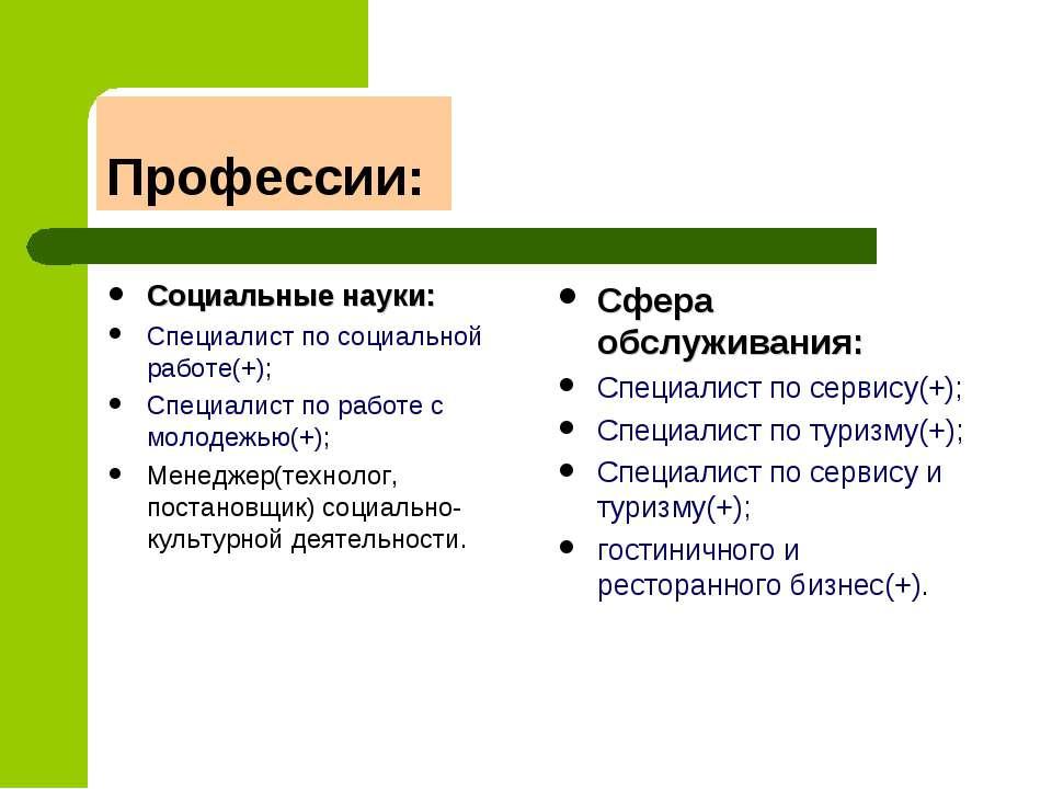 Профессии: Социальные науки: Специалист по социальной работе(+); Специалист п...