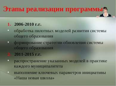 Этапы реализации программы 1. 2006-2010 г.г. обработка пилотных моделей разви...