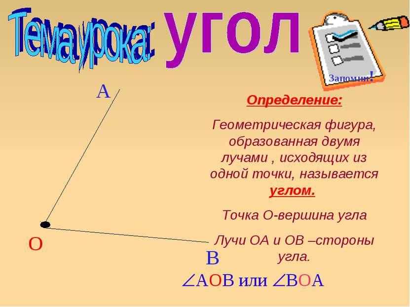О А В Определение: Геометрическая фигура, образованная двумя лучами , исходящ...