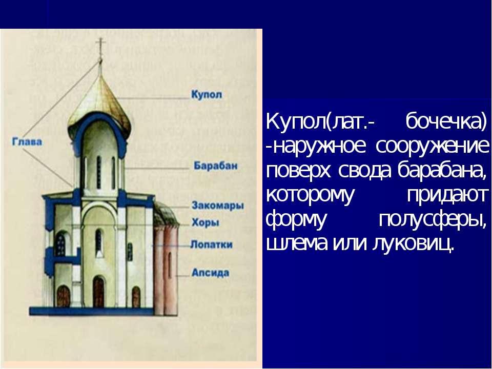 Купол(лат.- бочечка) -наружное сооружение поверх свода барабана, которому при...