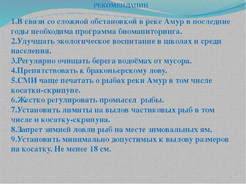 РЕКОМЕНДАЦИИ  1.В связи со сложной обстановкой в реке Амур в последние годы ...