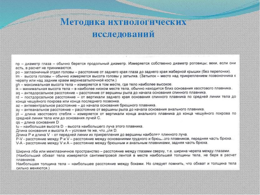 Методика ихтиологических исследований