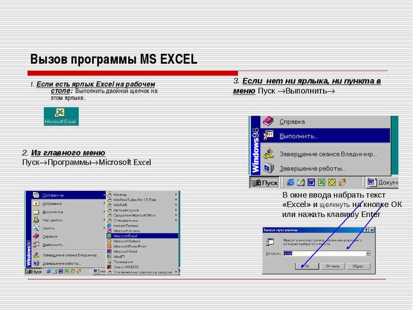 Вызов программы MS EXCEL 1. Если есть ярлык Excel на рабочем столе: Выполнить...