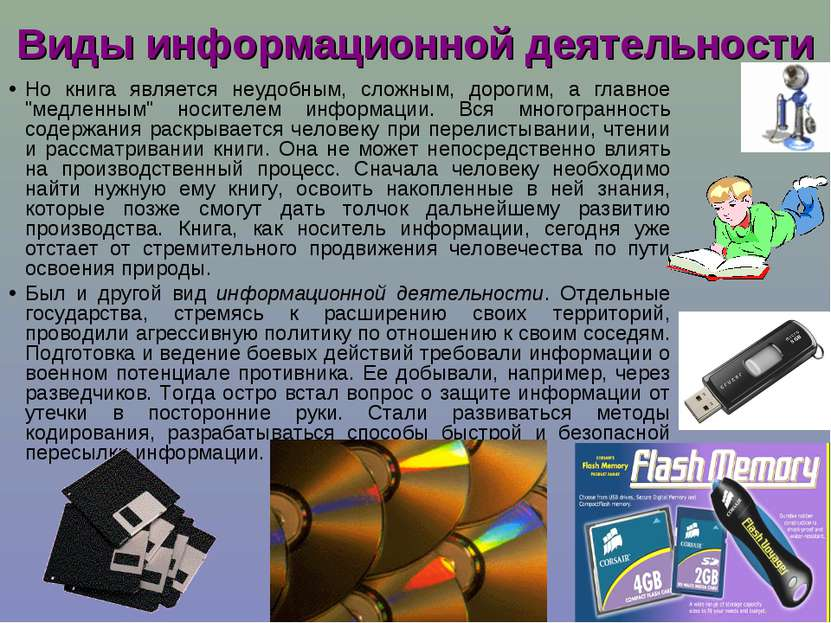Виды информационной деятельности Но книга является неудобным, сложным, дороги...