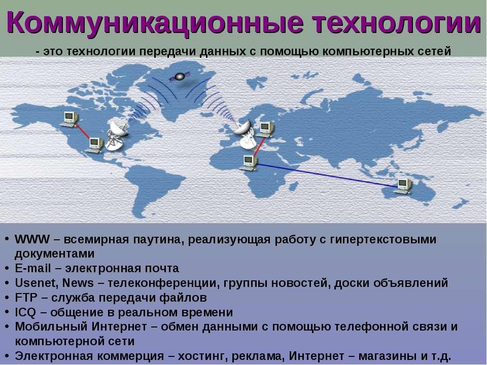 Коммуникационные технологии WWW – всемирная паутина, реализующая работу с гип...