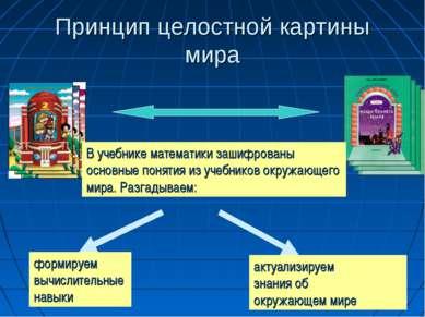 Принцип целостной картины мира В учебнике математики зашифрованы основные пон...