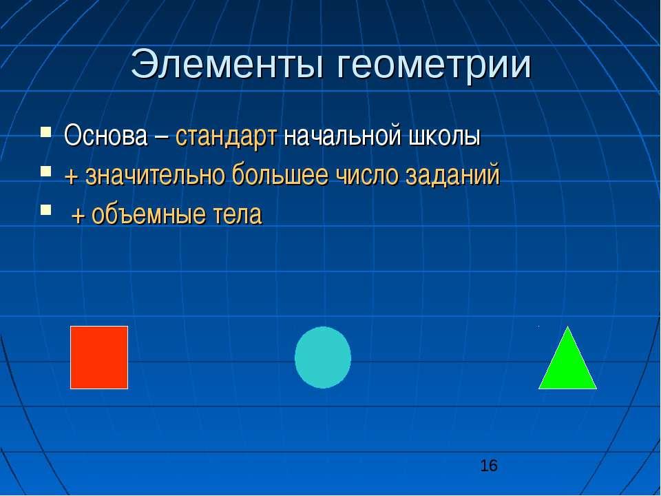 Элементы геометрии Основа – стандарт начальной школы + значительно большее чи...