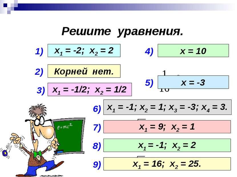 Решите уравнения. 1) 2) 3) 4) 5) х1 = -2; х2 = 2 Корней нет. х1 = -1/2; х2 = ...