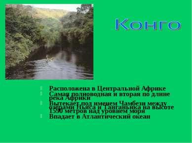 Расположена в Центральной Африке Самая полноводная и вторая по длине река Афр...