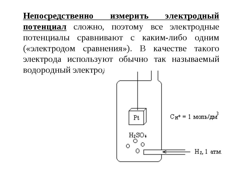 Непосредственно измерить электродный потенциал сложно, поэтому все электродны...