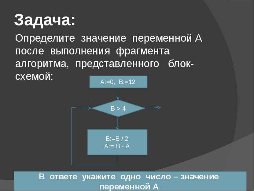 Задача: Определите значение переменной А после выполнения фрагмента алгоритма...